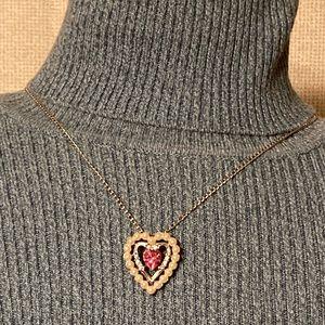 Vintage AVON 1974 Dear Heart Rhinestone Necklace